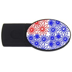 Flower Floral Smile Face Red Blue Sunflower USB Flash Drive Oval (4 GB)