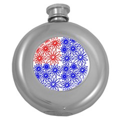 Flower Floral Smile Face Red Blue Sunflower Round Hip Flask (5 oz)