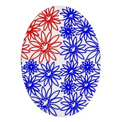 Flower Floral Smile Face Red Blue Sunflower Oval Ornament (Two Sides)