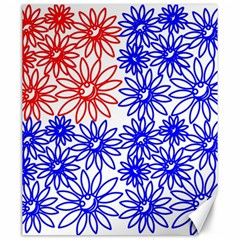 Flower Floral Smile Face Red Blue Sunflower Canvas 20  x 24