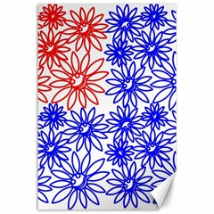 Flower Floral Smile Face Red Blue Sunflower Canvas 24  x 36