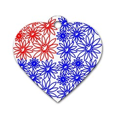 Flower Floral Smile Face Red Blue Sunflower Dog Tag Heart (One Side)