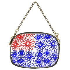 Flower Floral Smile Face Red Blue Sunflower Chain Purses (Two Sides)
