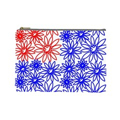 Flower Floral Smile Face Red Blue Sunflower Cosmetic Bag (Large)