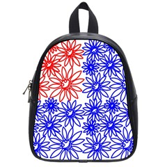 Flower Floral Smile Face Red Blue Sunflower School Bags (Small)