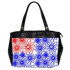 Flower Floral Smile Face Red Blue Sunflower Office Handbags (2 Sides)
