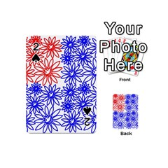 Flower Floral Smile Face Red Blue Sunflower Playing Cards 54 (Mini)