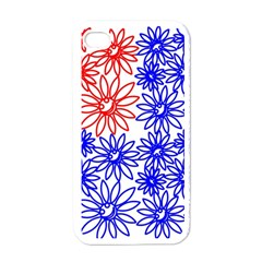 Flower Floral Smile Face Red Blue Sunflower Apple iPhone 4 Case (White)