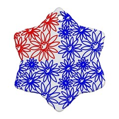 Flower Floral Smile Face Red Blue Sunflower Ornament (snowflake)