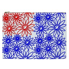 Flower Floral Smile Face Red Blue Sunflower Cosmetic Bag (XXL)