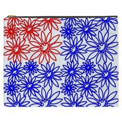 Flower Floral Smile Face Red Blue Sunflower Cosmetic Bag (XXXL)