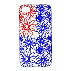 Flower Floral Smile Face Red Blue Sunflower Apple iPhone 4/4S Hardshell Case with Stand