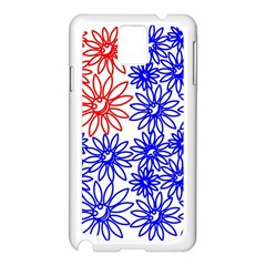 Flower Floral Smile Face Red Blue Sunflower Samsung Galaxy Note 3 N9005 Case (White)
