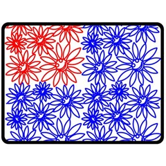 Flower Floral Smile Face Red Blue Sunflower Double Sided Fleece Blanket (Large)
