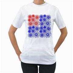 Flower Floral Smile Face Red Blue Sunflower Women s T-Shirt (White)