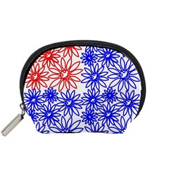Flower Floral Smile Face Red Blue Sunflower Accessory Pouches (Small)