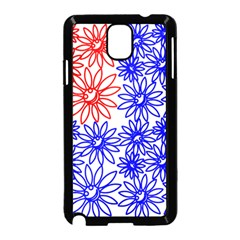 Flower Floral Smile Face Red Blue Sunflower Samsung Galaxy Note 3 Neo Hardshell Case (Black)