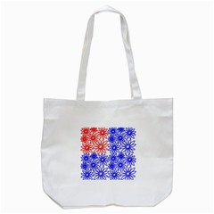 Flower Floral Smile Face Red Blue Sunflower Tote Bag (White)