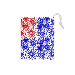 Flower Floral Smile Face Red Blue Sunflower Drawstring Pouches (Small)