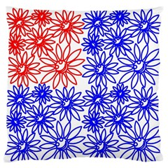 Flower Floral Smile Face Red Blue Sunflower Standard Flano Cushion Case (Two Sides)