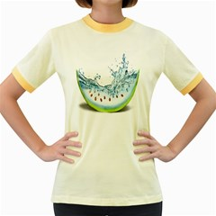 Fruit Water Slice Watermelon Women s Fitted Ringer T-Shirts
