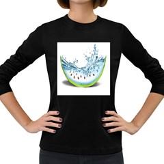 Fruit Water Slice Watermelon Women s Long Sleeve Dark T Shirts