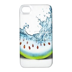 Fruit Water Slice Watermelon Apple iPhone 4/4S Hardshell Case with Stand