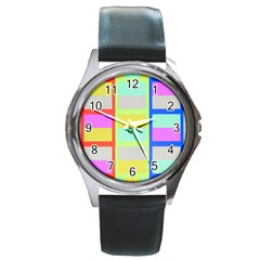 Maximum Color Rainbow Red Blue Yellow Grey Pink Plaid Flag Round Metal Watch
