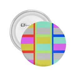 Maximum Color Rainbow Red Blue Yellow Grey Pink Plaid Flag 2.25  Buttons
