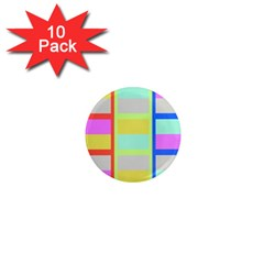 Maximum Color Rainbow Red Blue Yellow Grey Pink Plaid Flag 1  Mini Magnet (10 Pack)