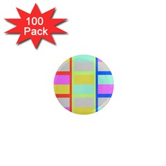 Maximum Color Rainbow Red Blue Yellow Grey Pink Plaid Flag 1  Mini Magnets (100 Pack)