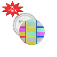Maximum Color Rainbow Red Blue Yellow Grey Pink Plaid Flag 1.75  Buttons (10 pack)