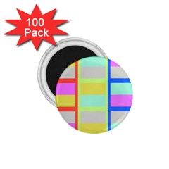Maximum Color Rainbow Red Blue Yellow Grey Pink Plaid Flag 1.75  Magnets (100 pack)