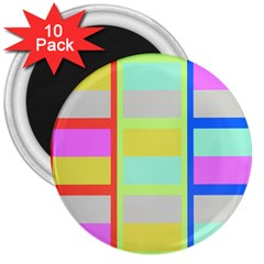 Maximum Color Rainbow Red Blue Yellow Grey Pink Plaid Flag 3  Magnets (10 pack)