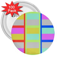 Maximum Color Rainbow Red Blue Yellow Grey Pink Plaid Flag 3  Buttons (100 pack)