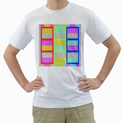 Maximum Color Rainbow Red Blue Yellow Grey Pink Plaid Flag Men s T-Shirt (White) (Two Sided)