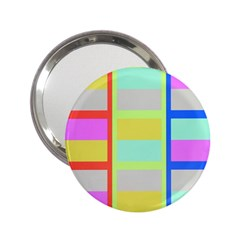 Maximum Color Rainbow Red Blue Yellow Grey Pink Plaid Flag 2 25  Handbag Mirrors