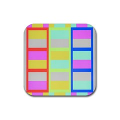 Maximum Color Rainbow Red Blue Yellow Grey Pink Plaid Flag Rubber Square Coaster (4 pack)