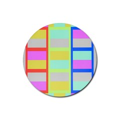Maximum Color Rainbow Red Blue Yellow Grey Pink Plaid Flag Rubber Round Coaster (4 pack)