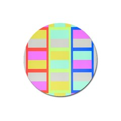 Maximum Color Rainbow Red Blue Yellow Grey Pink Plaid Flag Magnet 3  (round)
