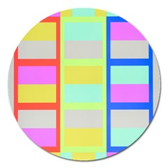 Maximum Color Rainbow Red Blue Yellow Grey Pink Plaid Flag Magnet 5  (Round)