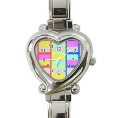 Maximum Color Rainbow Red Blue Yellow Grey Pink Plaid Flag Heart Italian Charm Watch