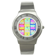 Maximum Color Rainbow Red Blue Yellow Grey Pink Plaid Flag Stainless Steel Watch