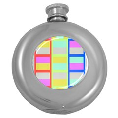 Maximum Color Rainbow Red Blue Yellow Grey Pink Plaid Flag Round Hip Flask (5 oz)