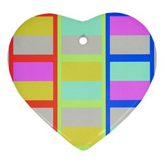 Maximum Color Rainbow Red Blue Yellow Grey Pink Plaid Flag Heart Ornament (Two Sides)