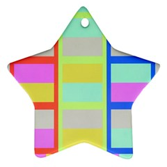 Maximum Color Rainbow Red Blue Yellow Grey Pink Plaid Flag Star Ornament (Two Sides)