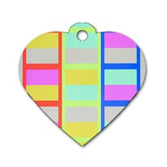 Maximum Color Rainbow Red Blue Yellow Grey Pink Plaid Flag Dog Tag Heart (One Side)