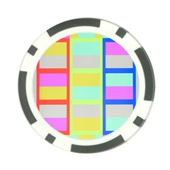 Maximum Color Rainbow Red Blue Yellow Grey Pink Plaid Flag Poker Chip Card Guard