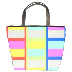 Maximum Color Rainbow Red Blue Yellow Grey Pink Plaid Flag Bucket Bags