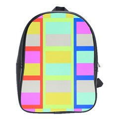 Maximum Color Rainbow Red Blue Yellow Grey Pink Plaid Flag School Bags(Large)